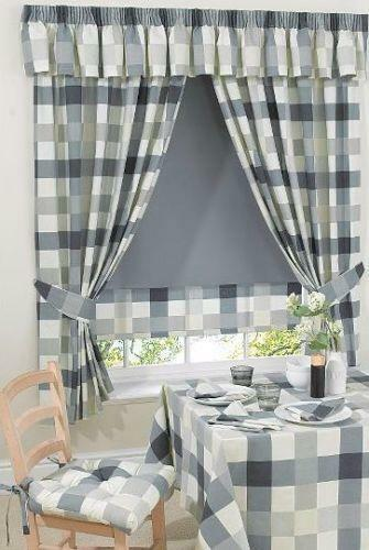 Grey Check Curtains Ebay