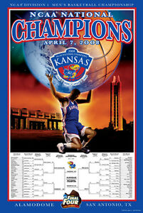 KANSAS JAYHAWKS 2008 NCAA Men's Basketball Final Four CHAMPIONS Original Poster