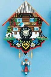 Swinging Girl Doll Quartz Movement Wood German Clock with Alphorn Player Germany