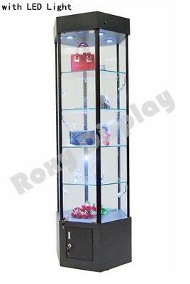 Tower Led Black Display Showcase Store Fixture Assembled Wlights Sc-wl25bk
