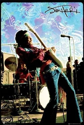 ROCK MUSIC POSTER Jimi Hendrix Live On Stage Rock Music Poster