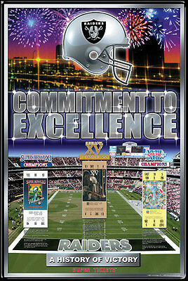 Oakland Raiders 3 Time Super Bowl Champions Official Nfl History Poster