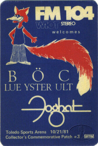 BLUE OYSTER CULT FOGHAT 1981 Radio Promo Backstage Pass Toledo
