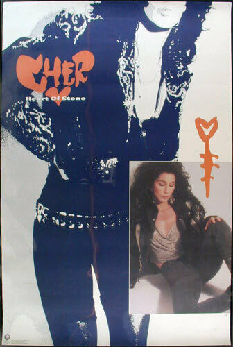 Cher - Heart of Stone _RARE ORIGINAL_ Record Store Promo Poster 1989 Geffen pop