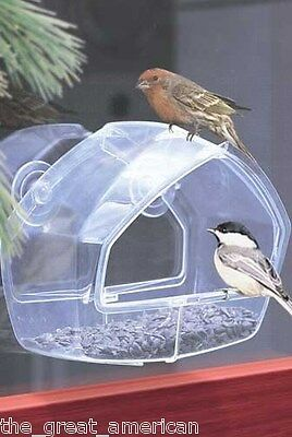 Perky Pet 348 WINDOW BIRD FEEDER Holds ANY Type of Seed Clear Acrylic USA Made