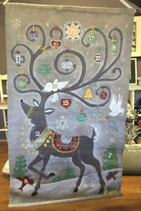 Pottery Barn Kids Painted Reindeer Advent Calendar. NEW IN BOX
