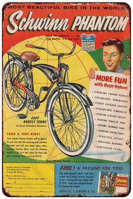 (1951 Schwinn Phantom advertisement vintage reproduction metal sign 8 x 12)