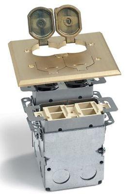 LEW ELECTRIC SWB-4-PQ-LR FLOOR BOX & BRASS COVER  2 GANG