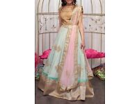 Mint Bollywood Lengha Wedding Pink Embellished Indian Top And Skirt