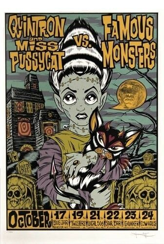 Quintron Miss Pussycat Vs Famous Monsters Concert Tour POSTER Alan Forbes Signed