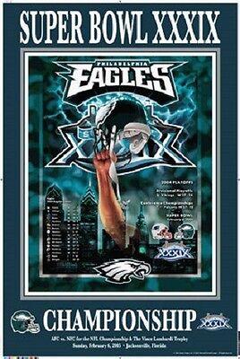 Commemorative Poster (Philadelphia Eagles SUPER BOWL XXXIX vs Patriots 2005 Commemorative Poster Rare )