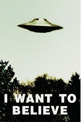 The X-Files Poster I Want To Believe Alien Wall Art UFO Sighting Black/White NEW