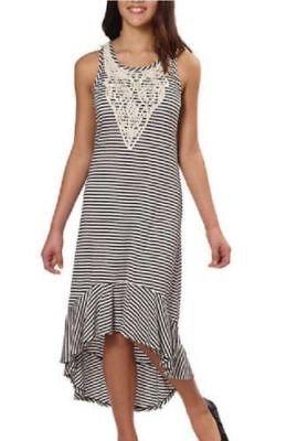 Girls Black Dresses 7 16 (Paper Doll Girls' Dress Stripes Black & Ivory Dress High - Low Hem, Juniors)