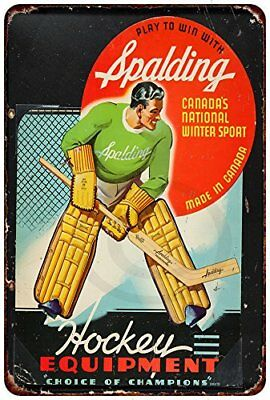 452c97aae7 1940 Spalding Hockey Equipment Vintage Rustic Retro Metal Sign 8