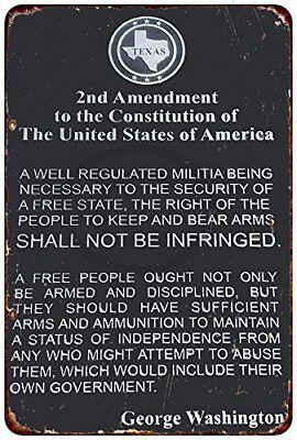 "The 2nd Amendment George Washington Rustic Retro Metal Sign 8"" x 12"""