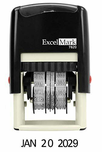 "ExcelMark 7820 Self-Inking Rubber Date Stamp – 3/8"" x 1-1/4"" Impression Size – G"