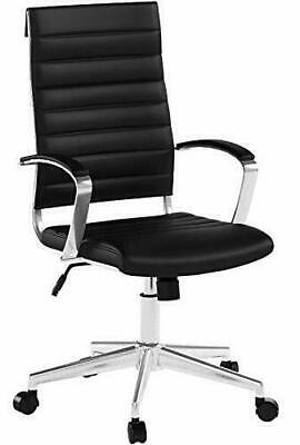 High-back Executive Swivel Office Desk Chair Ribbed Puresoft Upholstery Black