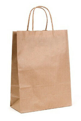 10 Small 20*17*9cm Retail Kraft Brown Paper Bags Twist Handle Market BUY QTY RQD