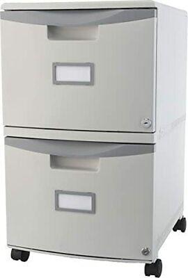 Storex Plastic 2-drawer Mobile File Cabinet Letterlegal Gray