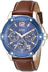 mens guess watch leather guess men s u0600g3 casual sport blue face brown leather strap watch