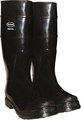 "Size 11 Boss 16"" Economy PVC Knee High Black Muck/Rain/Waterproof Boots PlainToe"