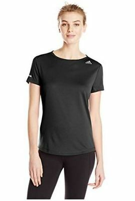 NWT Adidas Performance Women's Run Short Sleeve Tee Shirt Black Size L