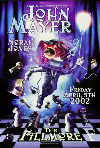 John Mayer Norah Jones 2002 Fillmore SF Concert Poster Craig Howell F516 AoMR