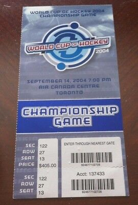 ccd9550d0e7 2004 WORLD CUP OF HOCKEY CHAMPIONSHIP GAME TICKET-(CANADA DEFEATS FINLAND  3-2)