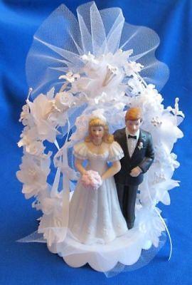 Black Coat Blonde Bride & Groom Wedding Cake Top, Shower, White -