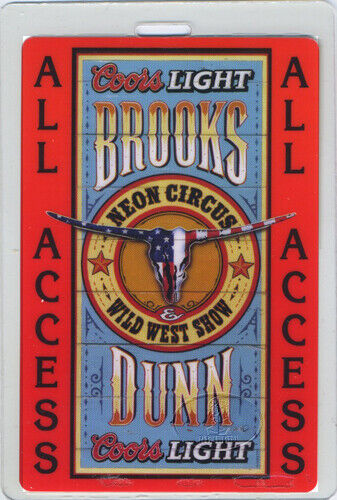 Brooks & Dunn 2001 Neon Circus Laminated Backstage Pass Keith Urban Toby Keith