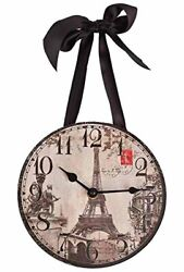 1 X Wall Clock - Paris/Eiffel Tower Vintage Images - by DCI