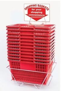 12 Standard Shopping Baskets - Chrome Handles - Metal Stand RED