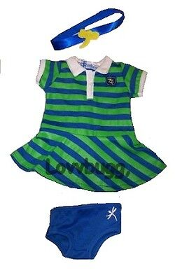 "Lovvbugg Striped Rugby Polo T Shirt Dress for 18"" American Girl Doll esp Lanie or Bitty"