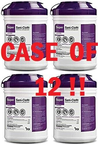 CASE 12 PDI Q55172 Super Sani-Cloth Germicidal Disposable Wipes Large CANISTERS