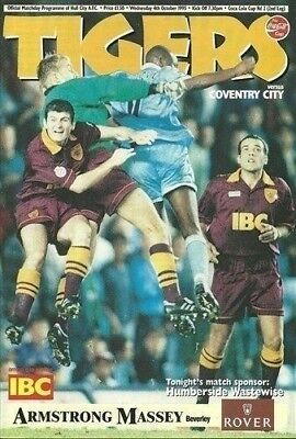 Hull City Coventry City 04/10/95 BOOTHFERRY Park football programme (GR1)