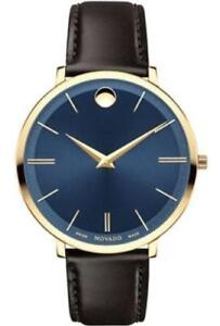 Movado  0607092 Blue Sunray Dial Black Leather Band Women's Watch
