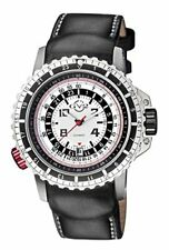 GV2 by Gevril Men's 3500 Contasecondi Automatic Black Leather Date Watch
