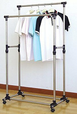 Heavy Duty Double Rail Adjustable Telescopic Rolling Clothing And Garment Rack