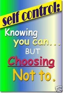 Self Control - Classroom Motivational School NEW POSTER