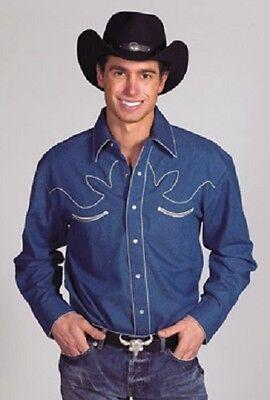 Herr Show Shirt (NEU! Herren Retro Baumwolle Western Show Shirt Medium Jeans Blau)