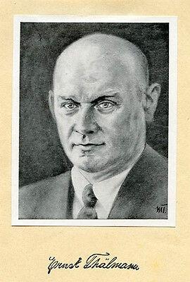 Autogramm mit Bildnis Ernst Thälmann deutscher Arbeiterführer gedruckte Signatur