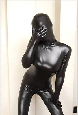 Metallic Black Lycra Spandex Suit Catsuit Halloween Party Zentai S-XXL