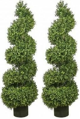 Two 46 inch Outdoor Artificial Boxwood Spiral Topiary Trees UV Rated Plants
