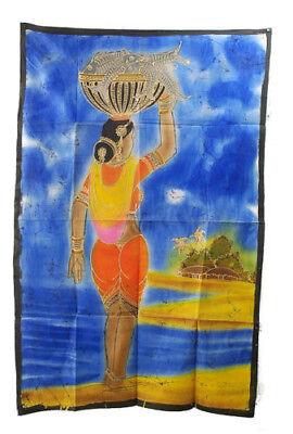 Batik Woman Hindu India 115x 74cm Hanging Wall 13