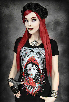 Restyle T-Shirt Gothic Red Riding Hood Rockabilly Zombie Grimm Rotkäppchen RS1 ()