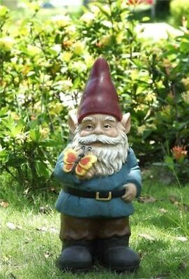 Gnome Holding A Butterfly Cute - Life Like Figurine Statue Home / Garden New