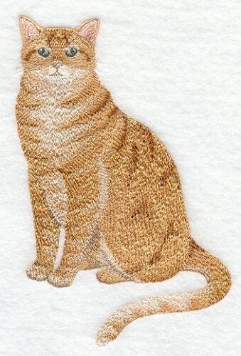Embroidered Ladies Short-Sleeved T-Shirt - Orange Tabby Cat C7892