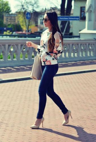 Casual Floral Print Loose Pullover