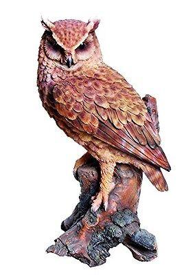 OWL GREAT HORNED OWL ON STUMP 14.5