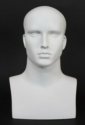 16 In H Male Mannequin Head Bust Form Display Mannequin Matte White Mh7-wt